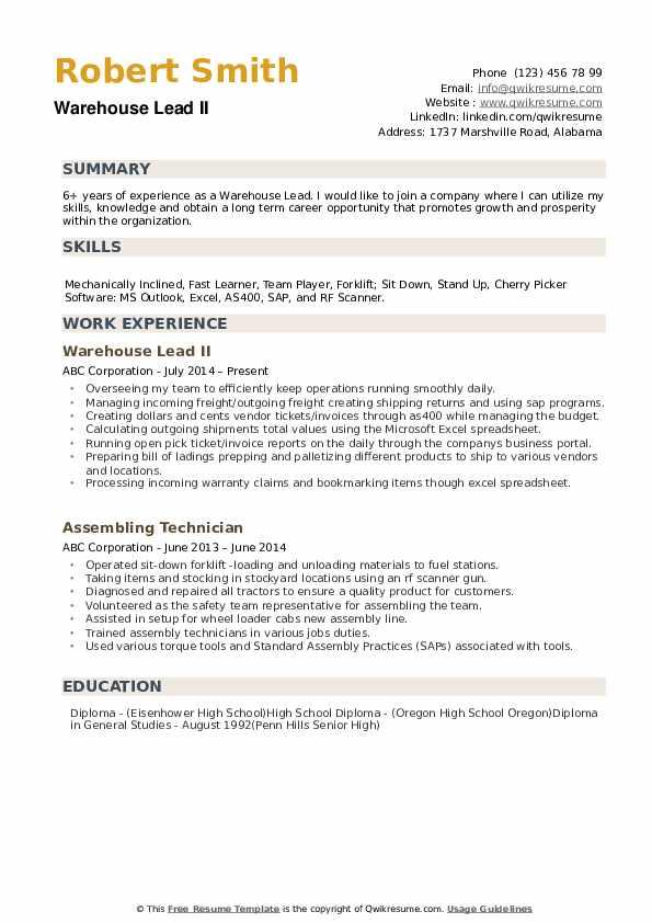 Warehouse Lead Resume example