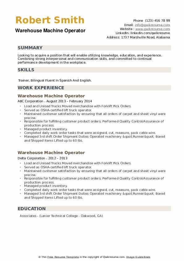 Warehouse Machine Operator Resume example