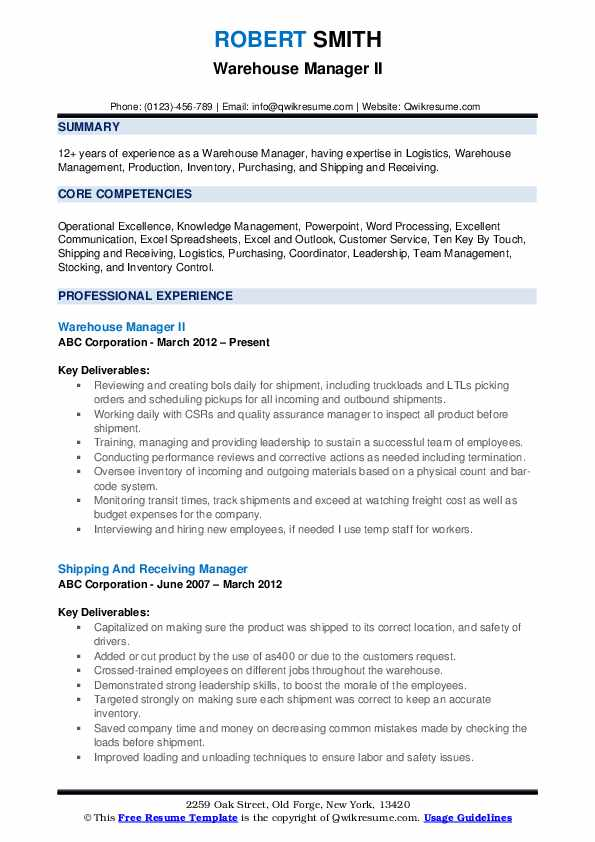 Warehouse Manager II Resume Example