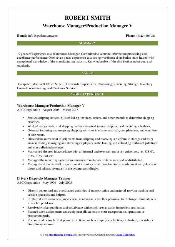 Warehouse Manager Resume Samples | QwikResume