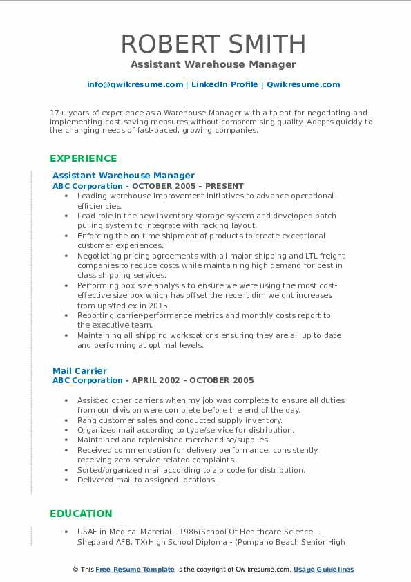 Assistant Warehouse Manager Resume Template