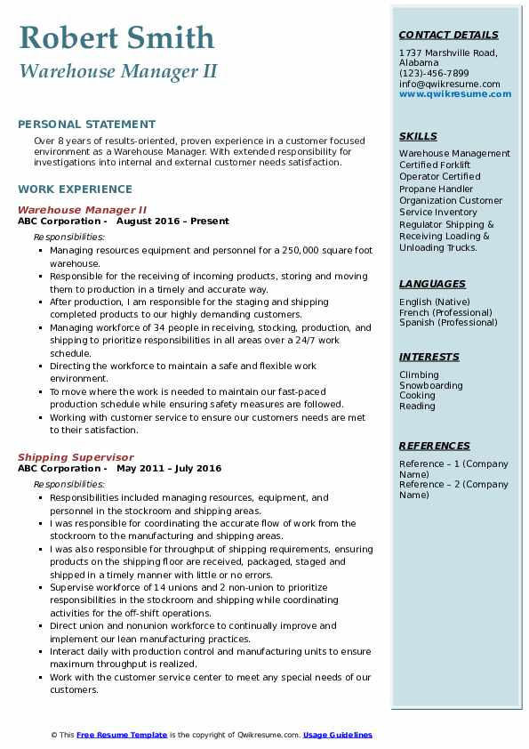 warehouse manager resume samples