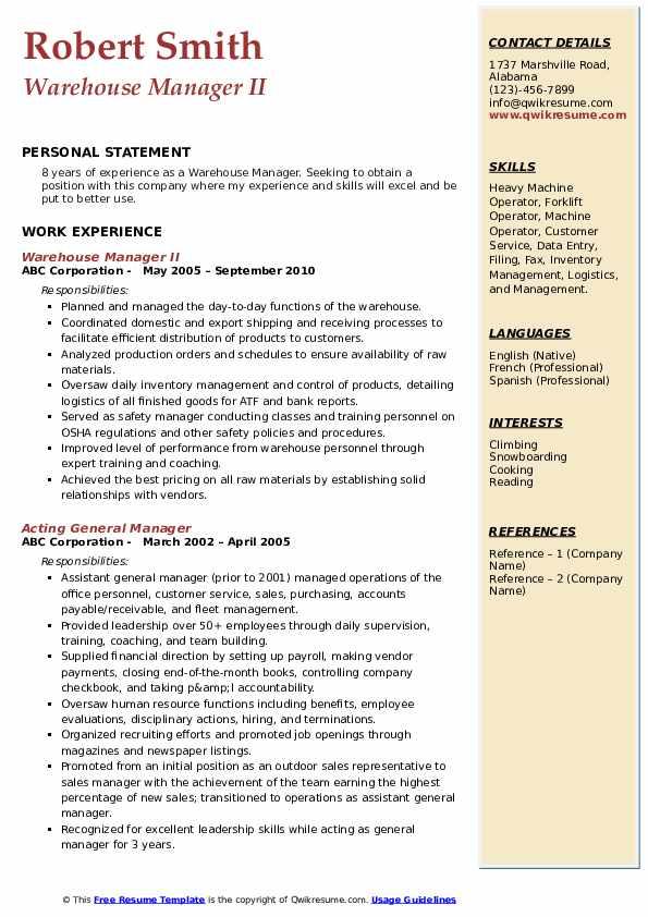 Warehouse Manager II Resume Model