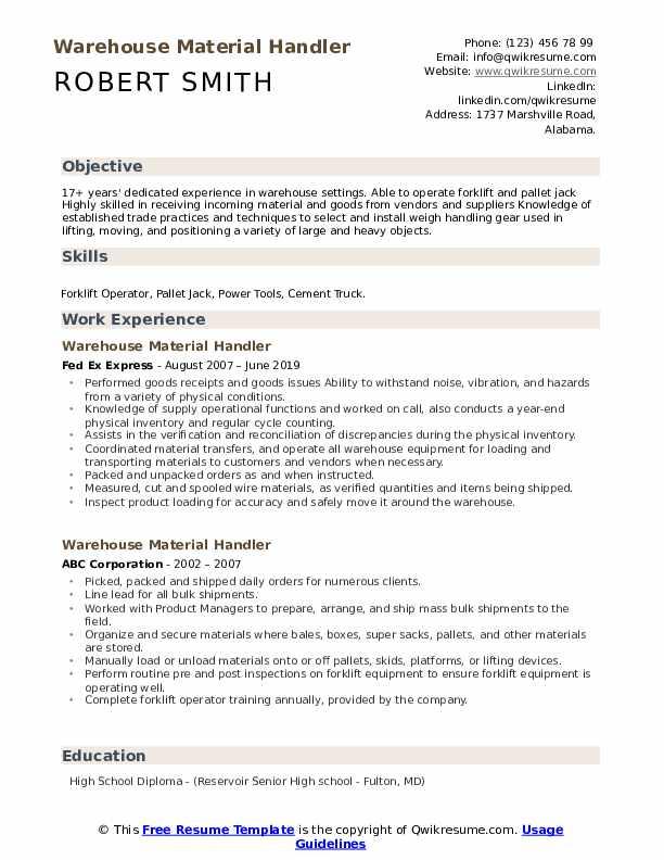 Warehouse Material Handler Resume Example