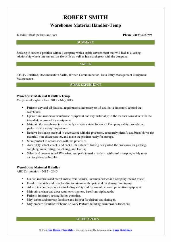 Warehouse Material Handler-Temp Resume Template