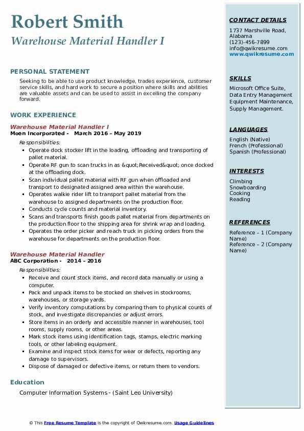 Warehouse Material Handler I Resume Model