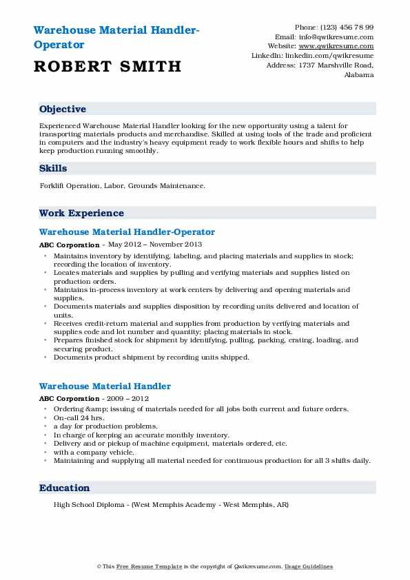 Warehouse Material Handler-Operator Resume Example
