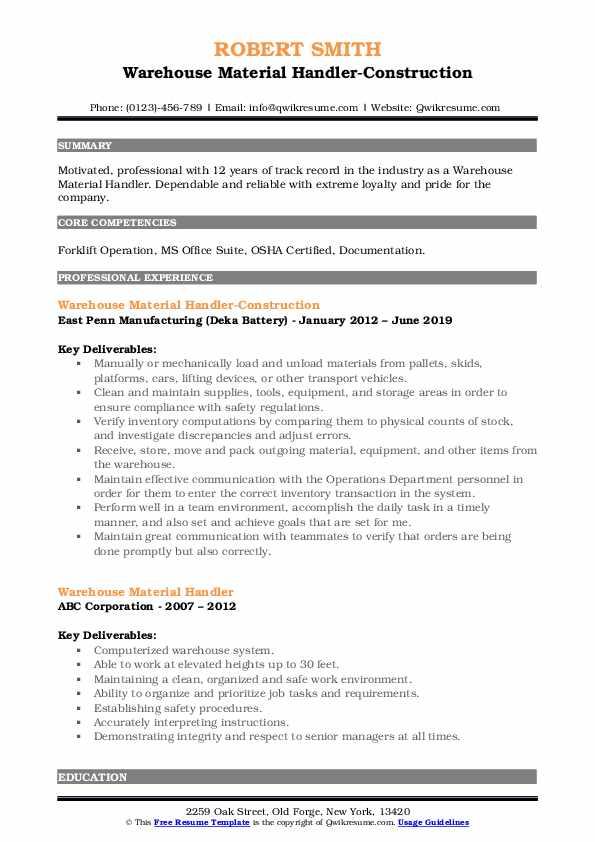 Warehouse Material Handler-Construction Resume Model