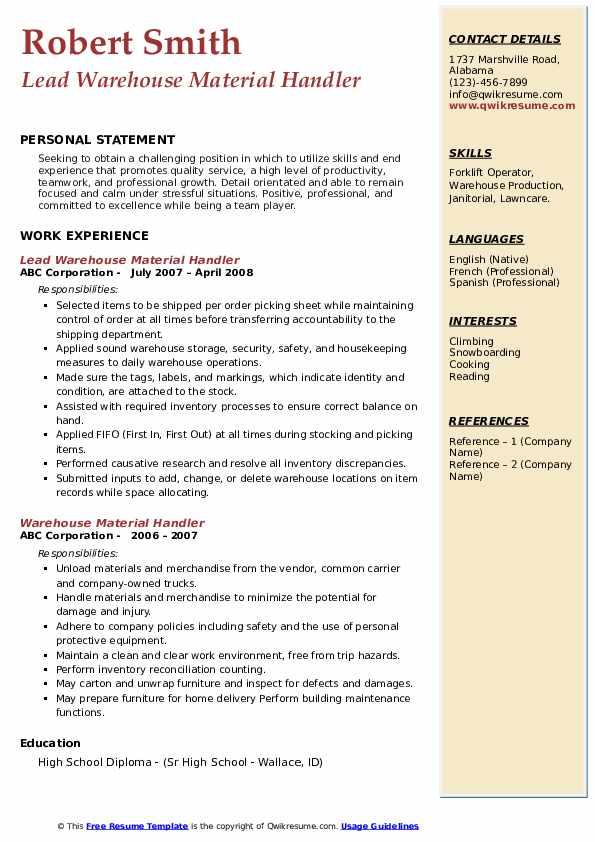 Lead Warehouse Material Handler Resume Example