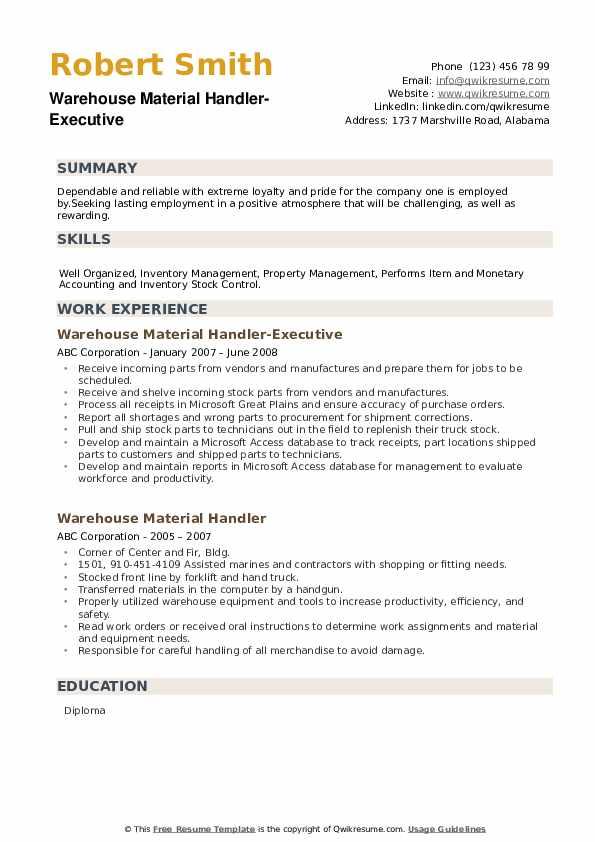 Warehouse Material Handler-Executive Resume Format