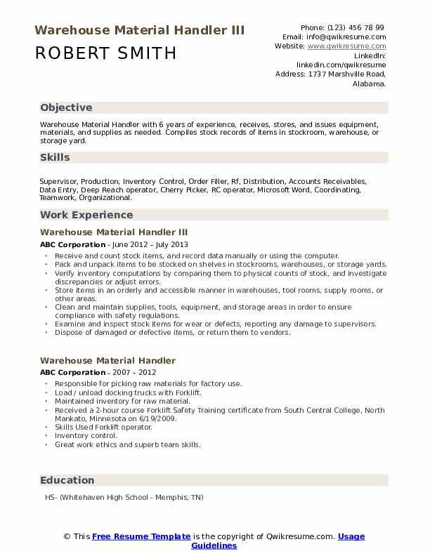 Warehouse Material Handler III Resume Model