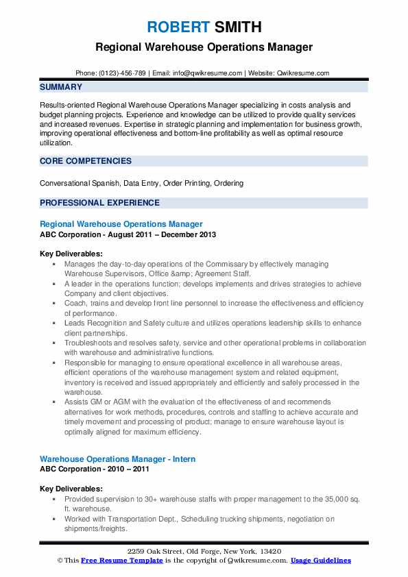 Regional Warehouse Operations Manager Resume Template