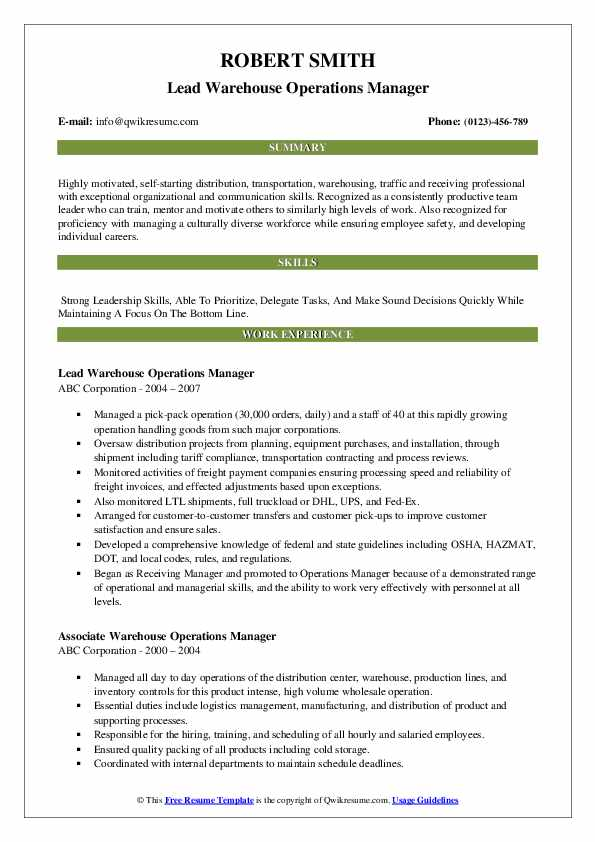 Lead Warehouse Operations Manager Resume Format