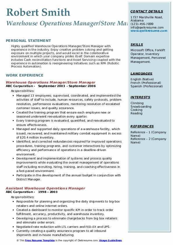Warehouse Operations Manager/Store Manager Resume Sample