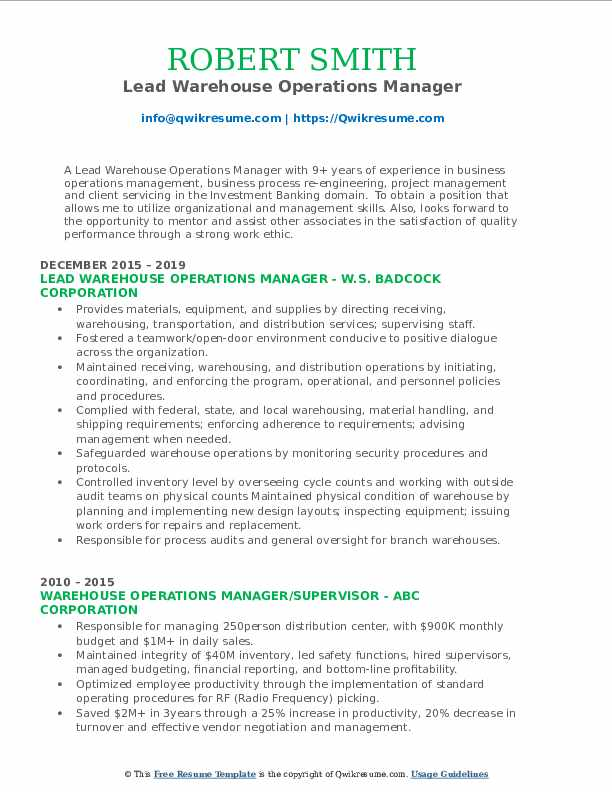 Lead Warehouse Operations Manager Resume Example