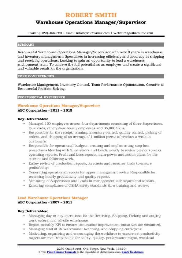 Warehouse Operations Manager/Supervisor Resume Sample