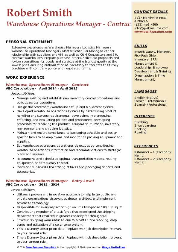 Warehouse Operations Manager - Contract Resume Model