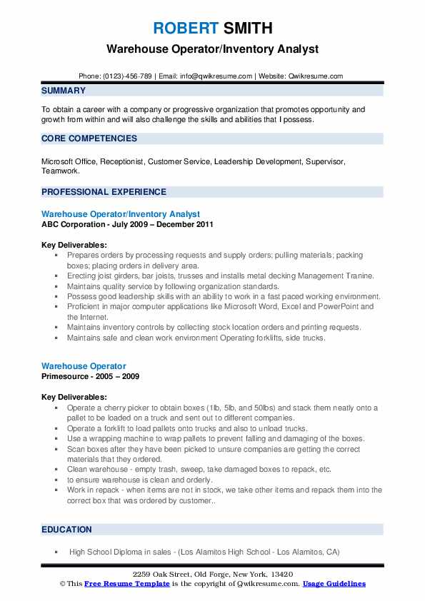 Warehouse Operator/Inventory Analyst Resume Model