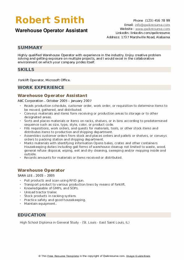 Warehouse Operator Assistant Resume Example