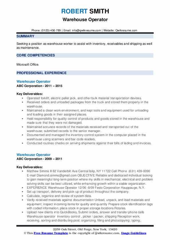 Warehouse Operator Resume example