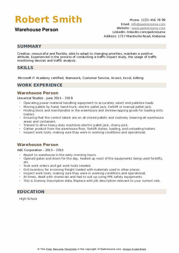 Warehouse Person Resume example
