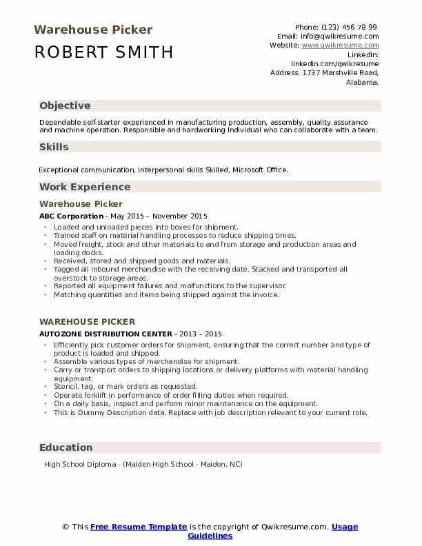 Warehouse Picker Resume example