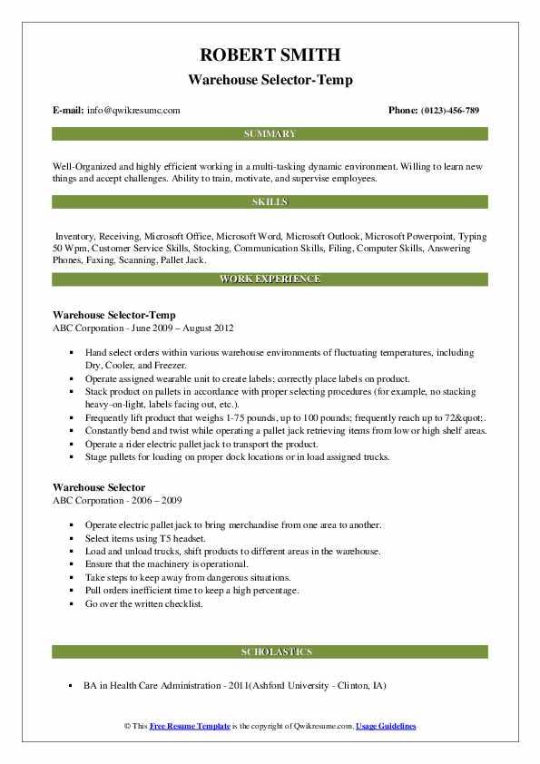 Warehouse Selector-Temp Resume Example