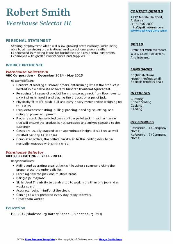 Warehouse Selector III Resume Format