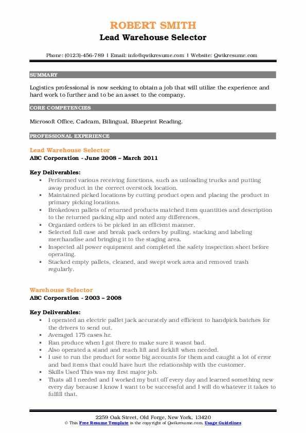 Lead Warehouse Selector Resume Model