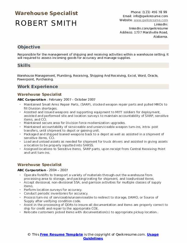 Warehouse Specialist Resume Example