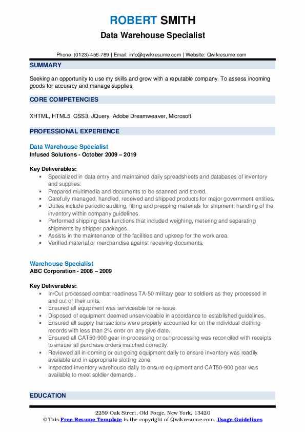 Warehouse Specialist Resume Samples | QwikResume