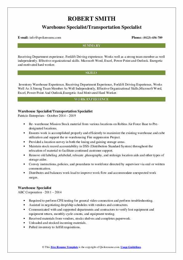 Warehouse Specialist/Transportation Specialist Resume Template
