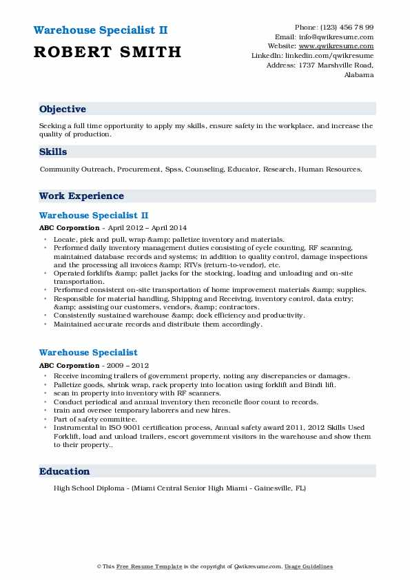 Warehouse Specialist II Resume Example