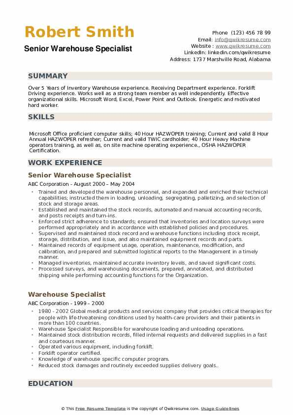 Senior Warehouse Specialist Resume Example
