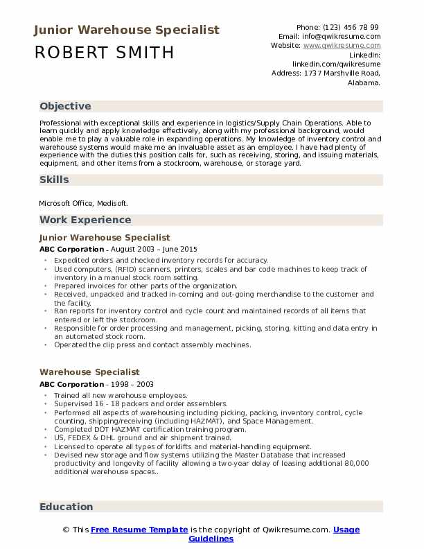 Junior Warehouse Specialist Resume Sample
