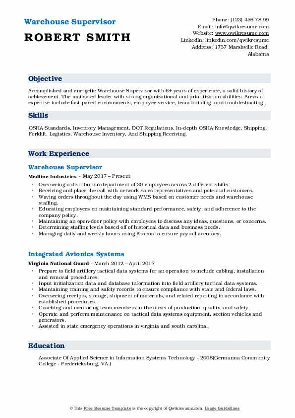 Warehouse Supervisor Resume Samples | QwikResume