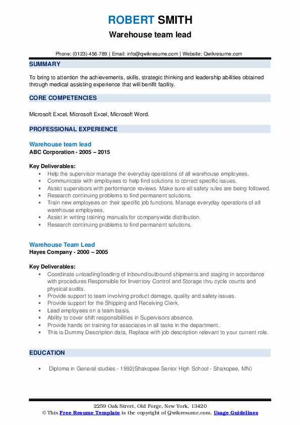 Warehouse Team Lead Resume example