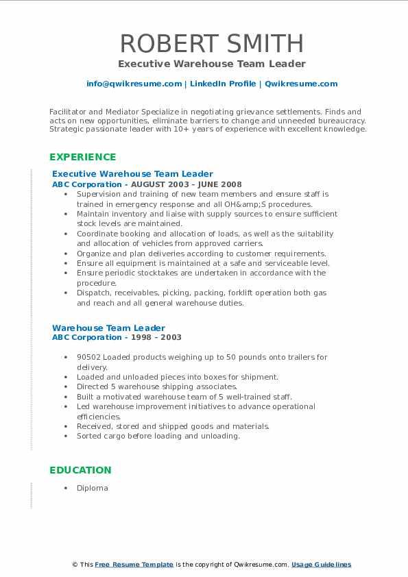 Executive Warehouse Team Leader Resume Format