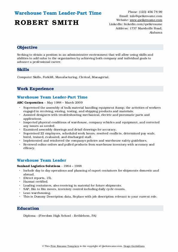 Warehouse Team Leader-Part Time Resume Model