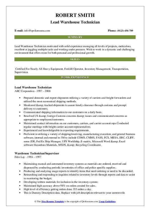 Lead Warehouse Technician Resume Example