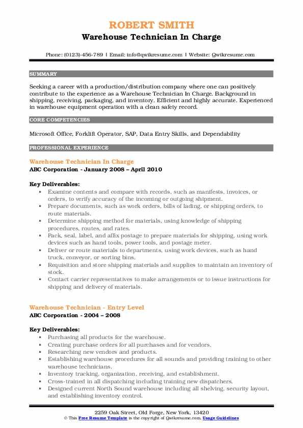 Warehouse Technician In Charge Resume Template