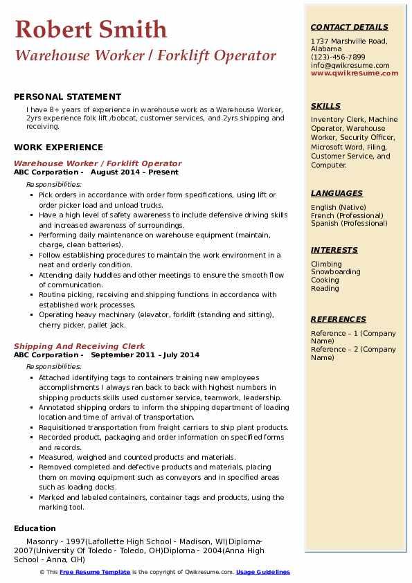 Warehouse Worker / Forklift Operator Resume Model