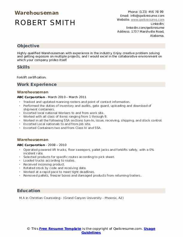 Warehouseman Resume Format