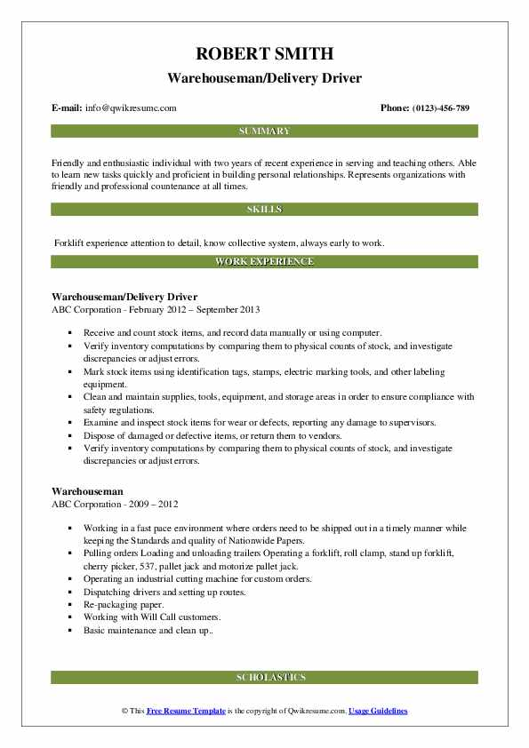Warehouseman/Delivery Driver Resume Model
