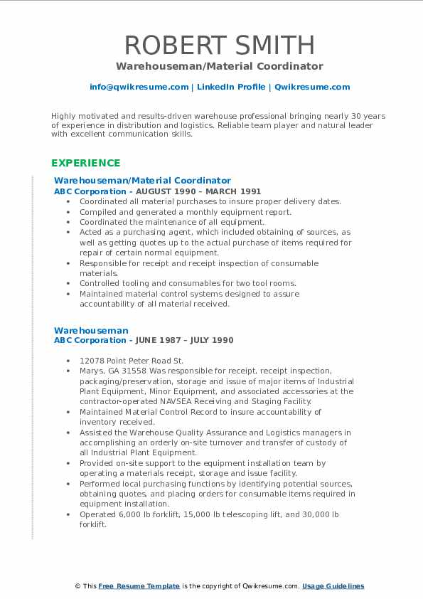 Warehouseman/Material Coordinator Resume Example