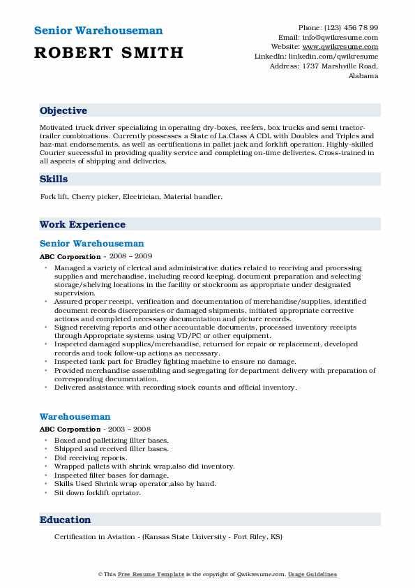 Senior Warehouseman Resume Format
