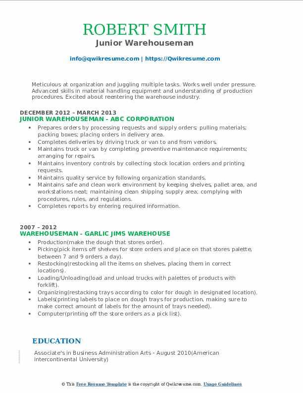 Junior Warehouseman Resume Format