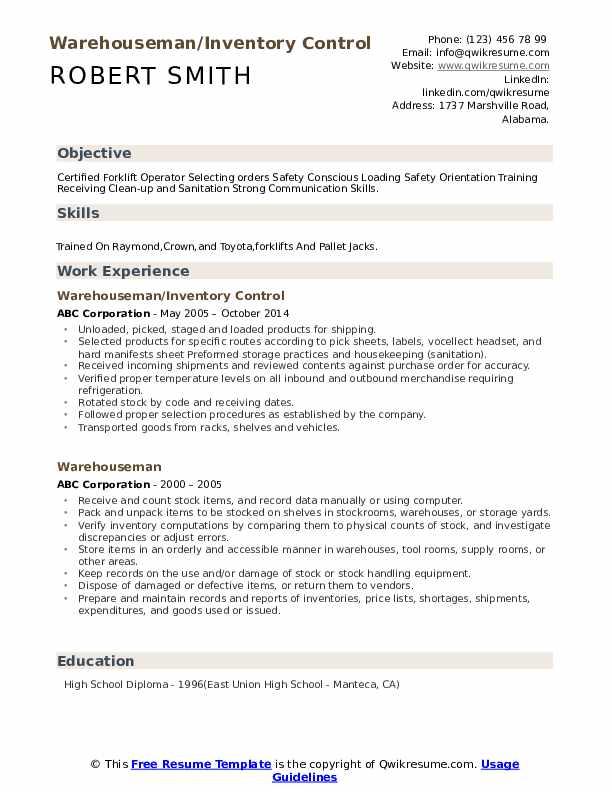 Warehouseman/Inventory Control Resume Template