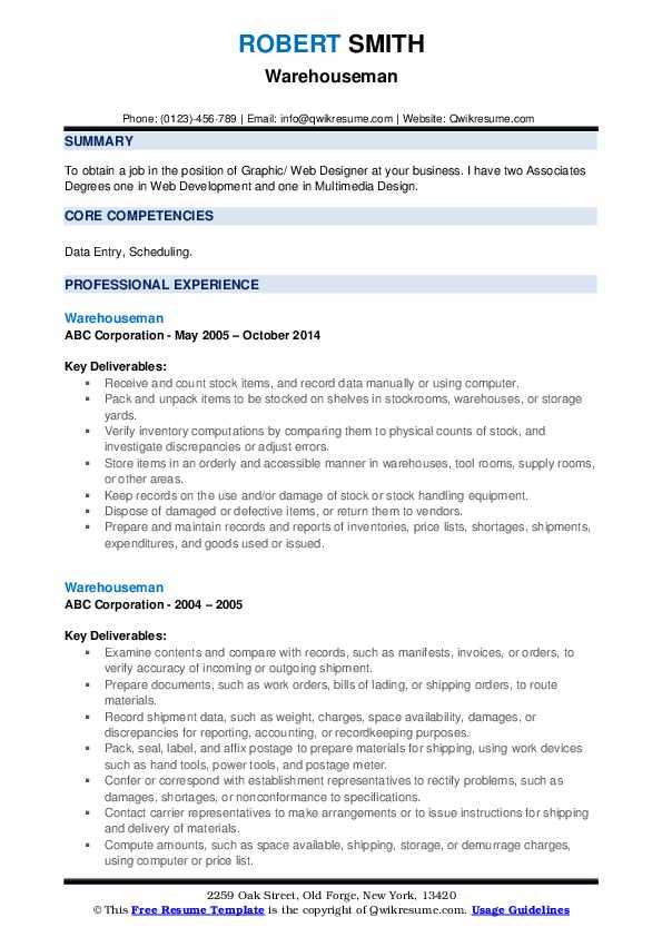 Warehouseman Resume example