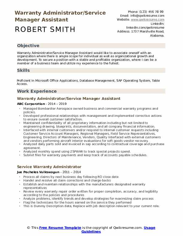 Warranty Administrator/Service Manager Assistant Resume Template